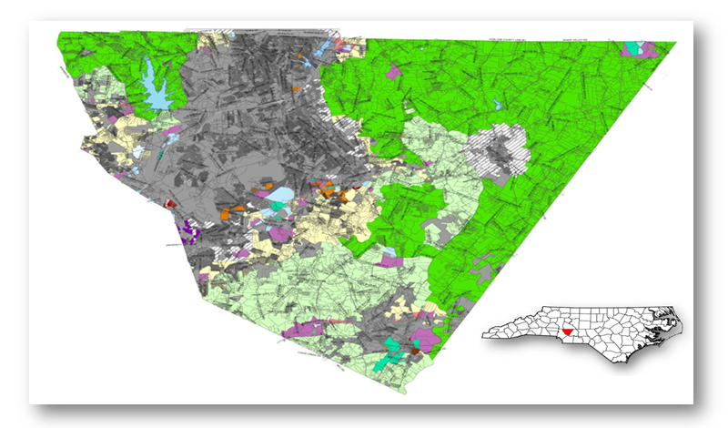 Cabarrus County, North Carolina.  The land in dark green is zoned for agriculture.  The land in light green is zoned 'countryside residential' which allows for some agriculture use.