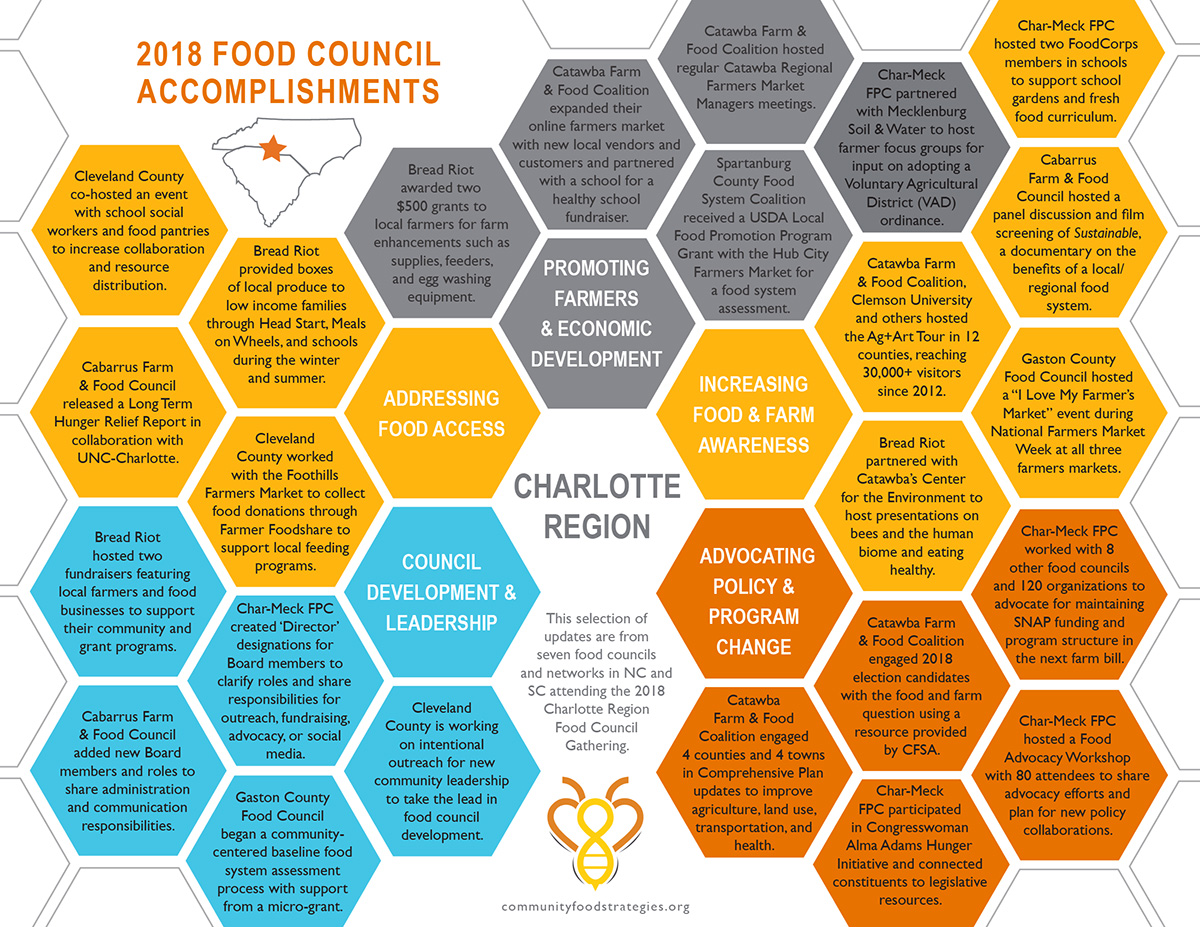 This documentlists several accomplishments from the seven food councils and networks in North Carolina and South Carolina that attended this regional gathering.
