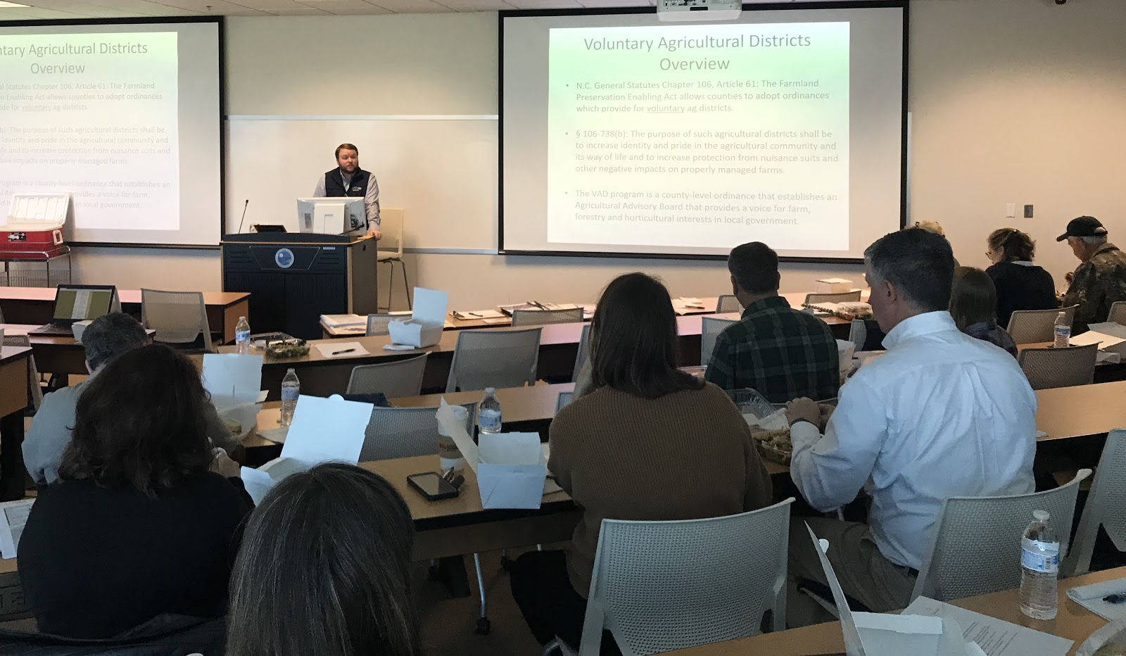 Mecklenburg County farmers come together to learn about the potential benefits of adopting a Voluntary Agricultural District Ordinance.